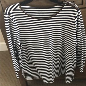 Talbots blue and off white striped long sleeve tee